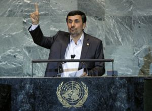 President Mahmoud Ahmadinejad addresses the sixty-sixth session of the U.N. General Assembly. Credit:UN Photo/Marco Castro